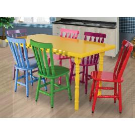 Conjunto de Mesa Torneada em Madeira Laca Branca/Amarela com 6 Cadeiras Coloridas