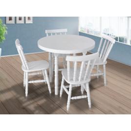 Conjunto de Mesa Redonda Corupixá 0,90m com 4 Cadeiras Torneada Madeira Laca Branca