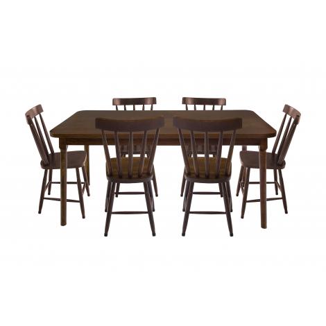 Conjunto de Mesa Brisamar 1,60m Tampo de Madeira com 6 Cadeiras Imbuia