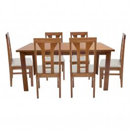 Conjunto de Mesa Las Vegas 1,60m Tampo de Madeira com 6 Cadeiras Olinda