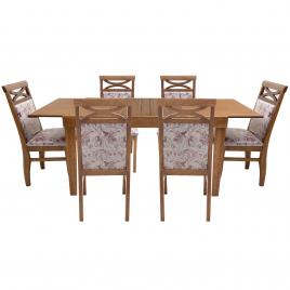 Conjunto de Mesa Esther Extensível 1,40-1,95m Tampo de Madeira com 6 Cadeiras Prince