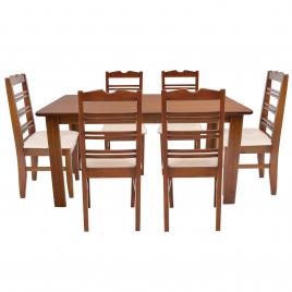 Conjunto de Mesa NR Tampo de Madeira 1,50m Tampo de Madeira com 6 Cadeiras NR Tecido Bege Imbuia