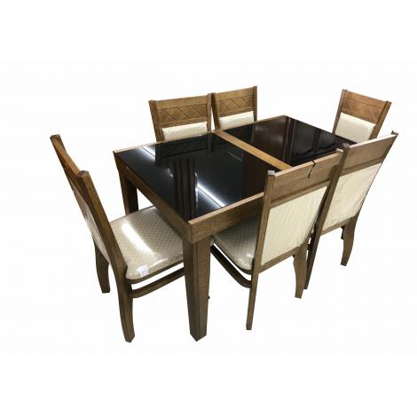 Mesa Esther Extensível 1,40-1,95m Tampo de Vidro Preto com  6 Cadeiras Lia Diversos Tecidos Imbuia