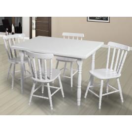 Conjunto de Mesa Torneada Branca 1,20m com 4 Cadeiras Corupixá Madeira Laca Branca