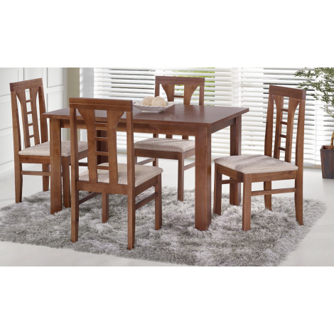 Conjunto de Mesa Las Vegas 1,20m Tampo de Madeira com 4 Cadeiras Olinda Diversos Tecidos Imbuia