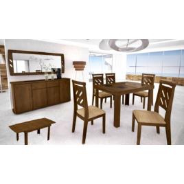 Conjunto de Mesa Max Extensível 1,40-2,00m Tampo de Madeira com Vidro Preto com 6 Cadeiras Max Imbuia