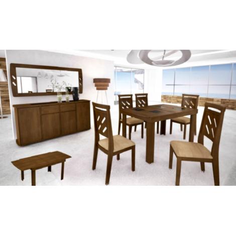 Conjunto de Mesa Max Extensível 1,40-2,00m Tampo de Madeira com Vidro Preto com 6 Cadeiras MaxDiversos Tecidos Imbuia