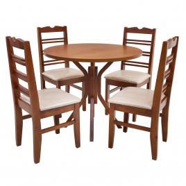 Conjunto de Mesa Redonda NR 0,90m Tampo de Madeira com 4 Cadeiras Tecido Bege Imbuia