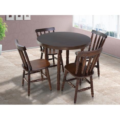 Conjunto de Mesa Redonda Corupixá 0,90m com 4 Cadeiras Torneada Imbuia