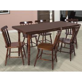 Conjunto de Mesa Corupixá 1,60m Tampo de Madeira com 6 Cadeiras Torneadas Imbuia