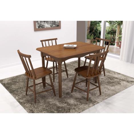 Conjunto de Mesa Brisamar 1,10m Tampo de Madeira com 4 Cadeiras Imbuia