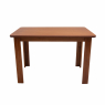 Conjunto de Mesa NR 1,20m Tampo de Madeira com 4 Cadeiras Tecido Bege Imbuia