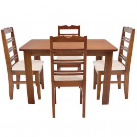 Conjunto de Mesa NR 1,20m Tampo de Madeira com 4 Cadeiras