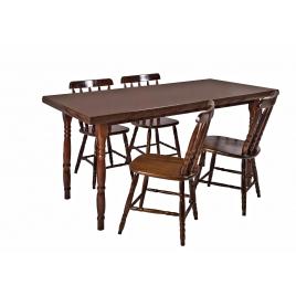 Conjunto de Mesa Corupixá 1,20m Tampo de Madeira com 4 Cadeiras Torneadas Imbuia