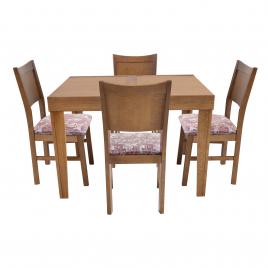 Conjunto de Mesa Esthelita Extensível 1,10-1,60m Tampo de Madeira com 4 Cadeiras Milão  Imbuia