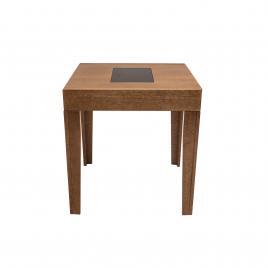 Conjunto de Mesa Mix Extensível 0,75-1,35m Tampo de Madeira com Vidro Preto com 4 Cadeiras Tina Diversos Tecidos Imbuia