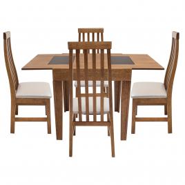 Conjunto de Mesa Mix Extensível 0,75-1,35m Tampo de Madeira com Vidro Preto com 4 Cadeiras Tina Imbuia