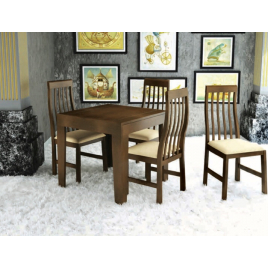 Conjunto de Mesa Tina Extensível 0,75-1,35m Tampo de Madeira com 4 Cadeiras Tina  Imbuia