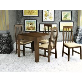Conjunto de Mesa Tina Extensível 0,80-1,40m Tampo de Madeira com 4 Cadeiras Tina Imbuia