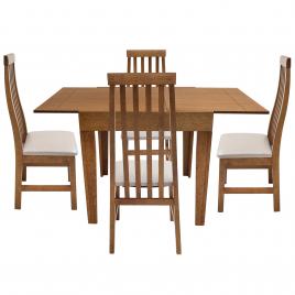 Conjunto de Mesa Tina Extensível 0,75-1,35m Tampo de Madeira com 4 Cadeiras Tina Diversas Cores Imbuia