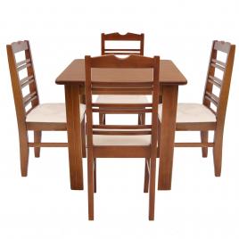 Conjunto de Mesa NR Quadrada 0,80m Tampo de Madeira com 4 Cadeiras