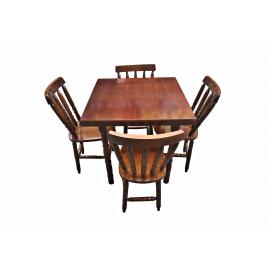 Conjunto de Mesa Corupixá Quadrada 0,80m Tampo de Madeira com 4 Cadeiras Imbuia