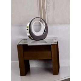 Mesa Lateral Stilo 0,45m Tampo de Vidro Com Gaveta Imbuia
