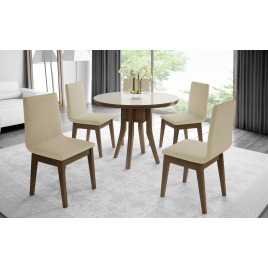 Mesa Redonda Sílvia Vidro Fendi com 4 Cadeiras Helen