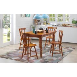 Conjunto Mesa Tampo de Madeira Mauá 1,25x0,80m com 4 Cadeiras Mauá Mel Brilho