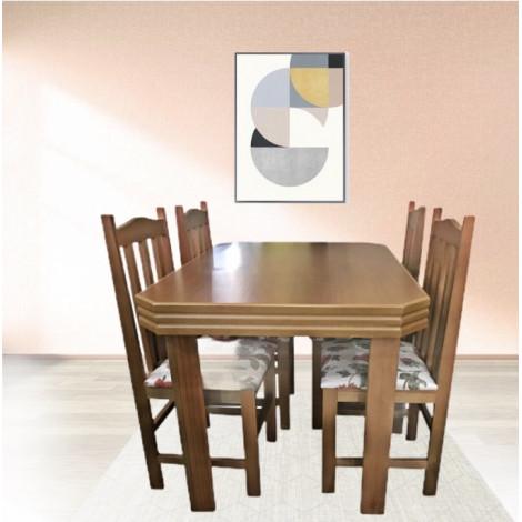 Conjunto de Mesa Viena 1,20m Tampo de Madeira com 4 Cadeiras Tecidos Diversos Imbuia Clara