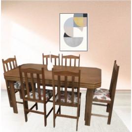 Conjunto de Mesa Viena 1,60m Tampo de Madeira com 6 Cadeiras Viena Tecidos Diversos Imbuia Clara