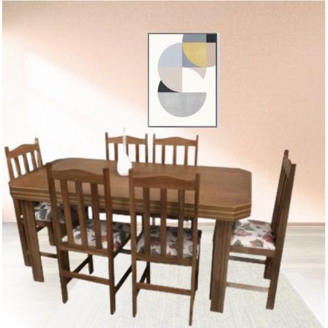 Mesa Viena Tampo de Madeira 1,60m com 6 Cadeiras Viena Tecidos Diversos Imbuia Clara