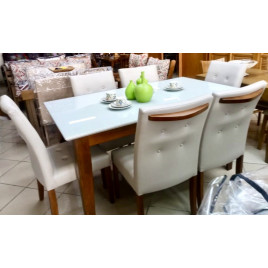 Conjunto de Mesa Liana 1,60x0,90m Vidro Fendi com 6 Cadeiras