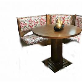 Canto Alemão Redondo 0,90m Isabela com Baú com 2 Cadeiras