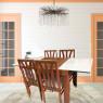 Conjunto de Mesa Londres Extensível 1,10-1,70m Vidro Preto/Branco com 4 Cadeiras Londres Diversos Tecidos Imbuia