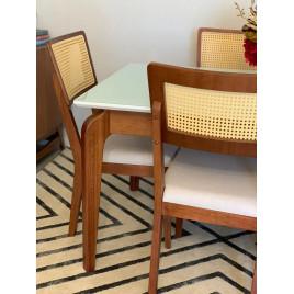 Conjunto de Mesa Premium 1,60m Tampo Laca Branca Vidro Branco com 6 Cadeiras Tela