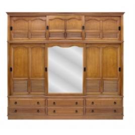 Armário Veneziana Duplex larg. 2,58m 3 portas de correr com espelho alt. 2,35m