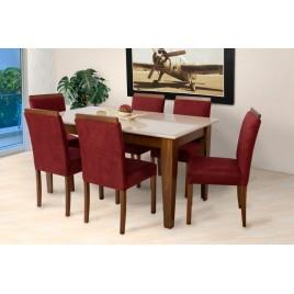 Conjunto de Mesa Beatriz 1,60x0,90m Vidro Fendi com 6 Cadeiras