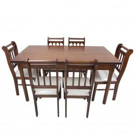 Conjunto de Mesa Verão 1,50m Tampo de Madeira com 6 Cadeiras Imbuia