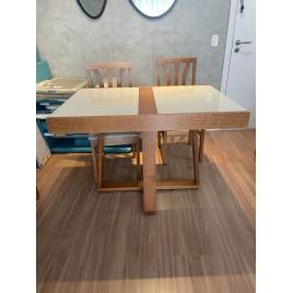 Conjunto de Mesa Itália Base Estrela Extensível 1,10-1,70m Vidro Fendi com 4 Cadeiras Londres