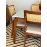 Conjunto de Mesa Premium 1,40m Tampo Laca Branca Vidro Branco com 6 Cadeiras Tela