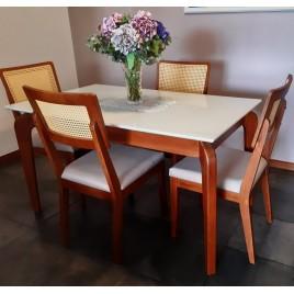 Conjunto de Mesa Premium 1,40m Tampo Laca Branca Vidro Branco com 4 Cadeiras Palhinha