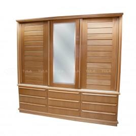 Guarda Roupa Casal Madeira Com Espelho 3 Portas de Correr Ripada 9 Gavetas Espanha 2,10m
