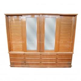 Guarda Roupa Casal Madeira com 2 Espelhos 4 Portas de Correr Ripada 14 Gavetas Espanha 2,90m